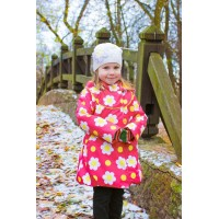 Детское Демисезонное Пальто Ассоль расцветка Ромашки Малина