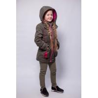 Детская Демисезонная Куртка Сюзет расцветка Хаки Цикламен