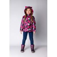 Детская Демисезонная Куртка с ушками на капюшоне Расцветка Цикламен