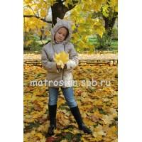 Детская Демисезонная Куртка с ушками на капюшоне Расцветка Белое Золото