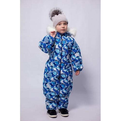 Детский зимний комбинезон Айс расцветка Сферы Голубой
