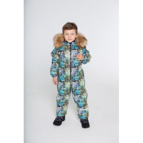 Детский зимний комбинезон Айс расцветка Пиксель