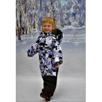 Детский Зимний Комбинезон Бамбини расцветка Сирень Белый