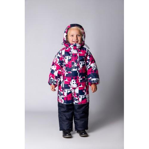 Детский Зимний Комбинезон Бамбини расцветка Малина Белый