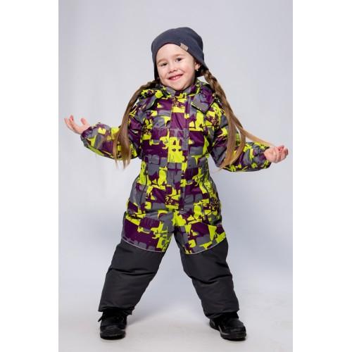 Детский Зимний Комбинезон Бамбини расцветка Салат Серый