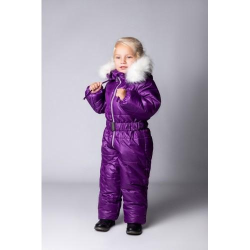 Детский Зимний Комбинезон Бэмби расцветка Баклажан