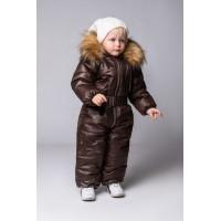 Детский Зимний Комбинезон Нью Бэмби расцветка Шоколад
