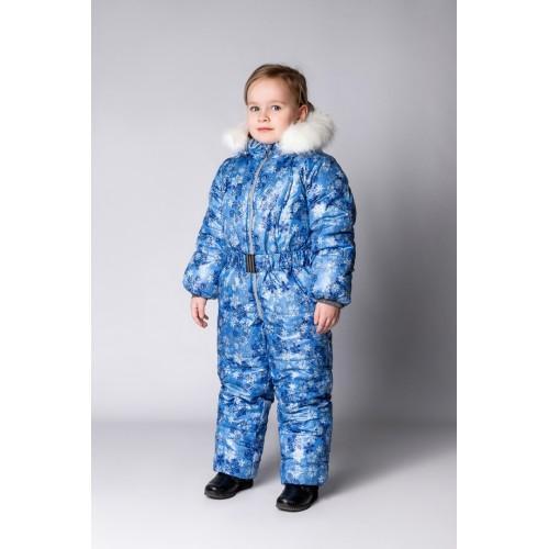 Детский Зимний Комбинезон Бэмби расцветка Голубой Cнежинки