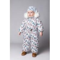 Детский Зимний Комбинезон Бэмби расцветка Снеговики Синий