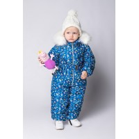 Детский Зимний Комбинезон Бэмби расцветка Синий Космос