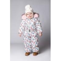 Детский Зимний Комбинезон Бэмби расцветка Снеговики бордо
