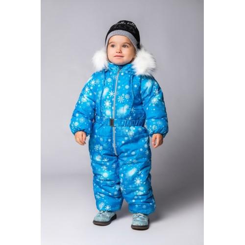 Детский Зимний Комбинезон Бэмби расцветка Голубой Кристалл