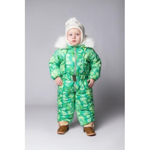 Детский Зимний Комбинезон Бэмби расцветка Лайм Узоры