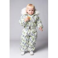 Детский Зимний Комбинезон Бэмби расцветка Снеговики Салат