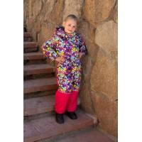 Детский Зимний Комбинезон Ньюскул расцветка Пузыри Малина