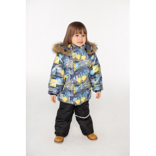 Детский зимний костюм Скиборд расцветка Бирюза Желтый