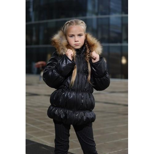 Детская Зимняя Куртка Люкс расцветка Черный