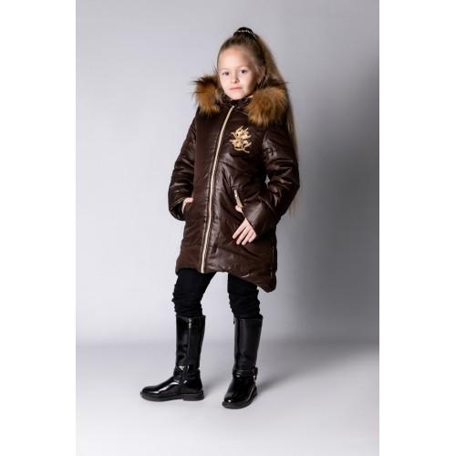 Детское Зимнее Пальто Армель расцветка Шоколад