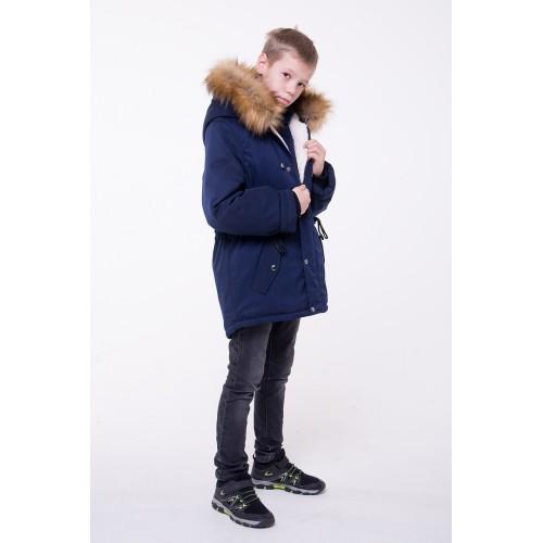 Детская Зимняя Куртка-Парка расцветка Синий