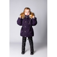 Детская Зимняя Куртка-Парка расцветка Темный Баклажан